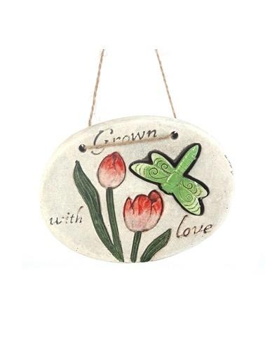 Bosphorus 17 X 15 X 1,3 Cm Kelebek Ve Çiçek Desenli Grown With Love Yazılı Ip Askılı Oval Balkon Ve Bahçe Süsü Gri